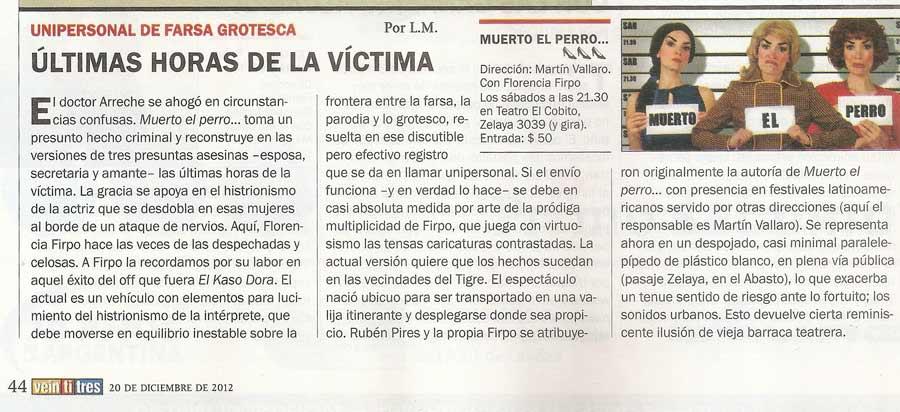 Muerto el perro: crítica en Revista 23